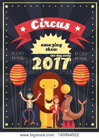 Retro circus entertainment, carnival and holiday show vector poster and invitation design. Banner invitation to entertainment carnival and circus show illustration