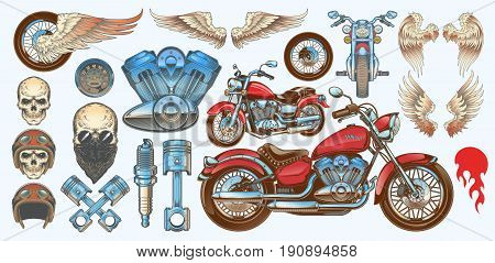 Set vector color illustrations, icons of hand-drawn vintage motorcycle in various angles, skulls, wings in style of engraving. Classic chopper in ink style. Print, engraving, template, design element