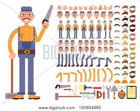 Cartoon man construction worker in jumpsuit vector character with big set of body parts. Creation constructor of different poses. Man construction body and different tools illustration