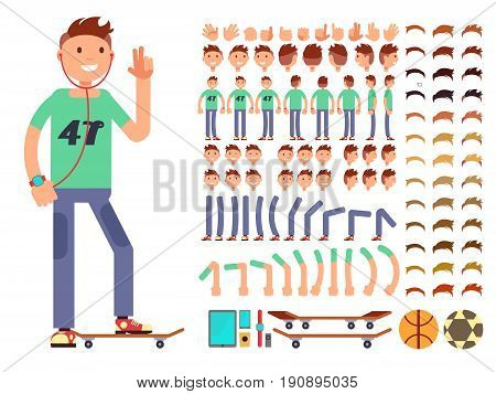 Young and happy vector character boy creation constructor. Student boy with headphones skate ball and gadget illustration