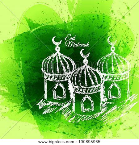 Green Eid Mubarak And Aid Said Greeting Moubarak And Mabrok For Muslim Community Festival Card Desig