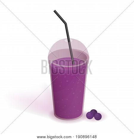 Drink in transparent plastic cup with lid and straw. Smoothie with bilberry. Beverage, realistic vector illustration on white background