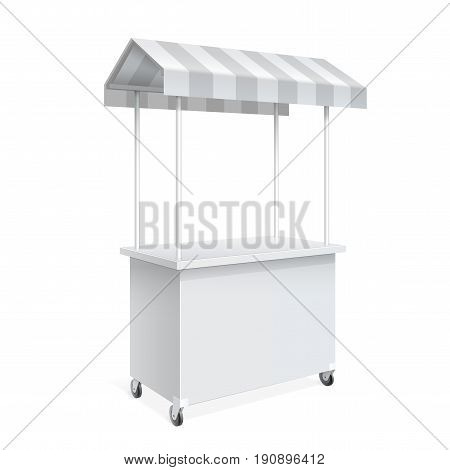 Promotion counter on wheels and a triangular roof covered with striped awning Retail Trade Stand Isolated on the white background. MockUp Template For Your Design. Vector illustration.