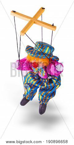 clown puppet isolated on white background .