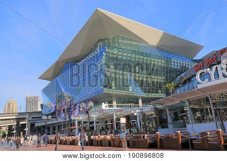 SYDNEY AUSTRALIA - MAY 30, 2017: Unidentified people visit International Convention Centre.