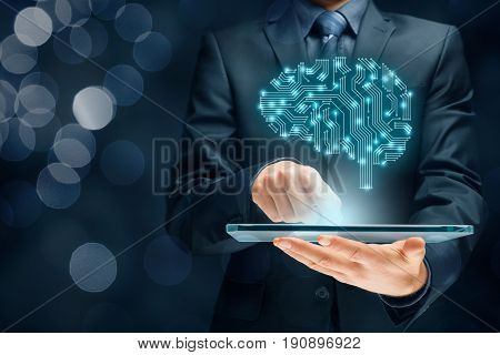 Brain representing artificial intelligence (AI) data mining expert system software genetic programming machine learning deep learning neural networks and another modern computer technologies concepts.