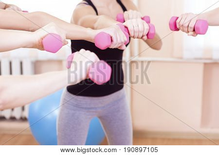 Sport Concepts and Ideas. Hands of Five Female Athletes Standing Together in Circle with Barbells. Horizontal Image