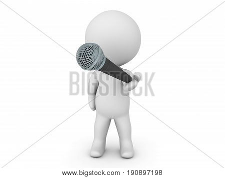 3D Character offering a microphone. Image relating to singing or public speaking in general.