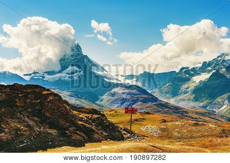 Beautiful mountains landscape Matternhorn covered with clouds