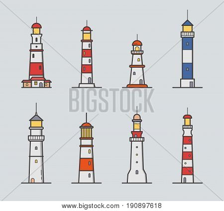Set of different lighthouse. Colorful vector illustration collection in lineart style on gray background