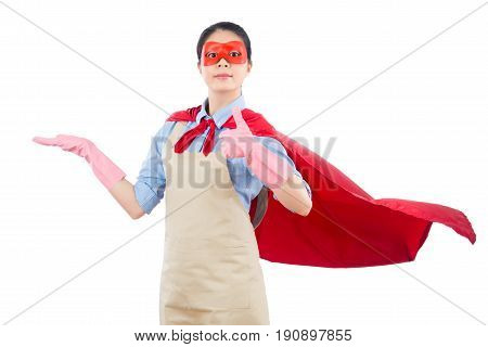 Superhero Housewife Presenting Thumbs Up