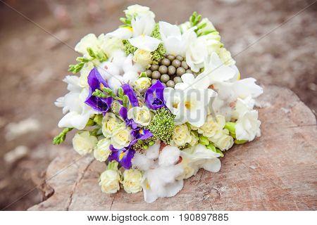 Wedding bouquet. Bride's flowers. Festive bouquet of the bride