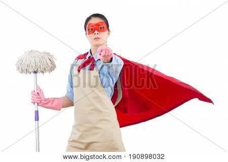 Super Hero Holding Mop Pointing At Camera