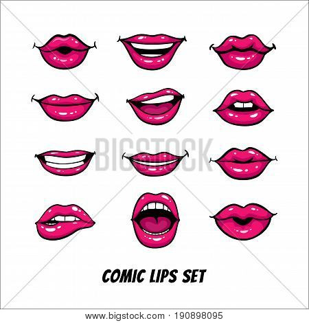 Comic female lips set. Mouth with a kiss smile tongue teeth open closed lips. Vector comic illustration in pop art retro style isolated on white background.