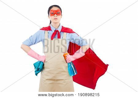 Housewife Holding Rag And Bottle Detergent