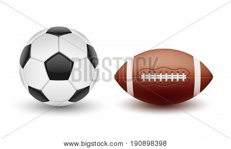 Vector set of sports balls, balls for soccer and American football in a realistic style isolated on white background. Print, template, design element