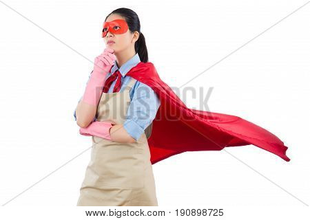Housewife Superhero Thinking Of Solution