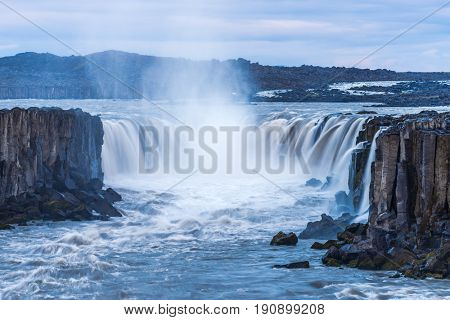 Selfoss waterfall. Beauty of the world. Wonderful landscape in Iceland. Famous Tourist Attraction