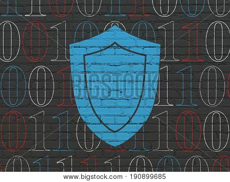 Security concept: Painted blue Shield icon on Black Brick wall background with  Binary Code