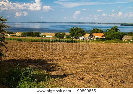 The Dnieper River, Houses Of Ukrainian Peasants, Fields, Plowed Fields.