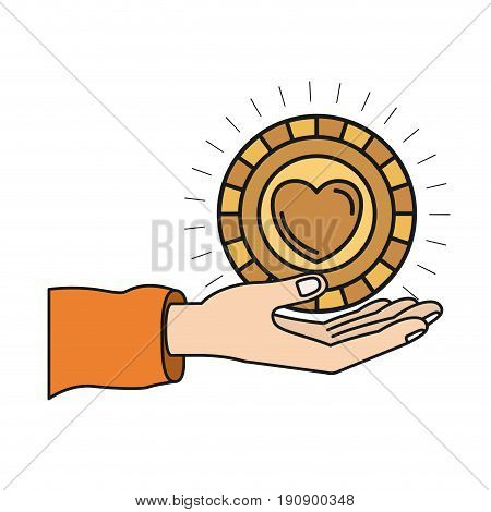 colorful silhouette hand palm giving a coin with heart shape inside charity symbol vector illustration