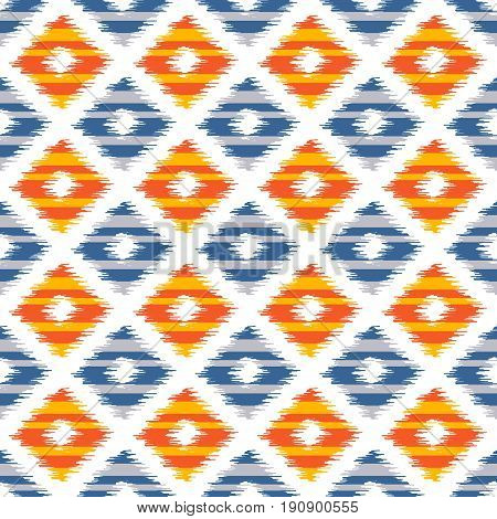 Seamless geometric pattern based on ikat fabric style. Vector illustration. Carpet rug texture vector imitation. Blue and orange checkered pattern.