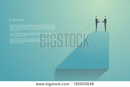 Businessman receiving job promotion in career from his boss. Corporate ladder vector symbol with two businessmen doing handshake. Eps10 vector illustration.