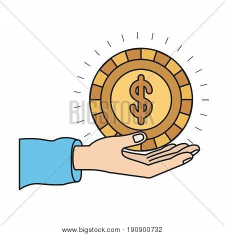 colorful silhouette hand palm giving a coin with dollar symbol vector illustration