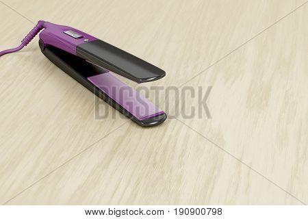 Ceramic hair straightener on wooden table, 3D illustration
