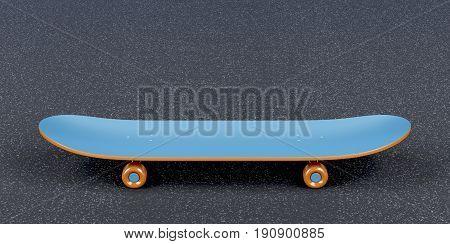 Blue skateboard on the asphalt, 3D illustration