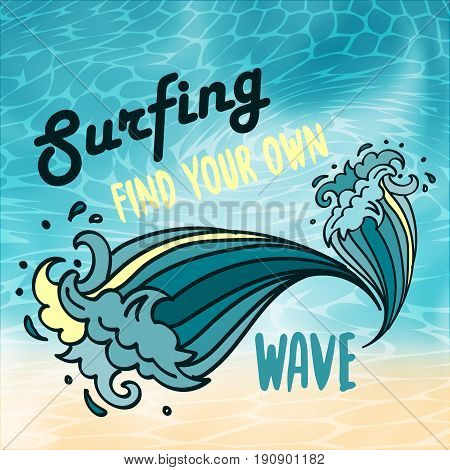 Surfing find yout own wave lettering with cartoon comic waves