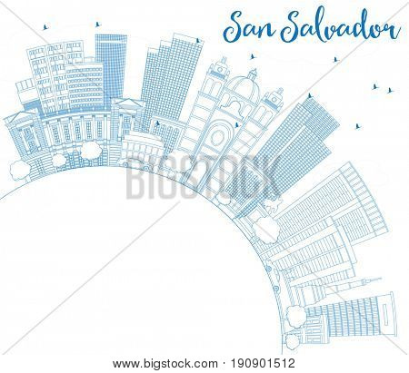 Outline San Salvador Skyline with Blue Buildings and Copy Space. Business Travel and Tourism Concept with Modern Architecture. Image for Presentation Banner Placard and Web Site.