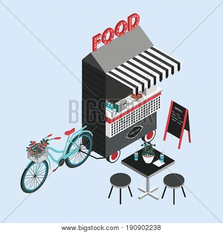 Concept of street food. Bicycle kiosk, foodtruck, portable cafe on wheels. Isometric illustration with fastfood point of sale, table and chairs. Top view. Colorful vector