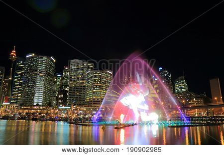 SYDNEY AUSTRALIA - MAY 30, 2017: Water show at Vivid Australia in Darling Harbour.