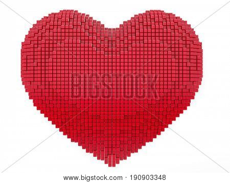 Love and Valentine Day concept. 3d pixel art heart - 3d render