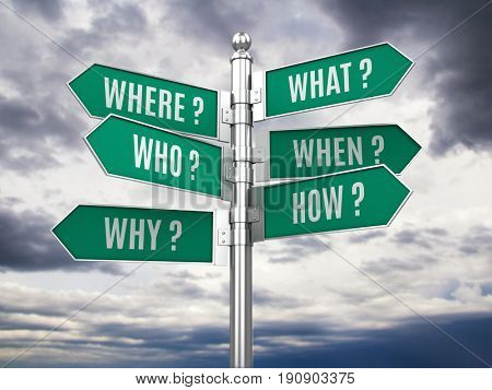 Road signpost with questions. 3d illustration