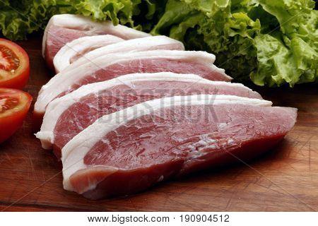 Raw pork chop picanha
