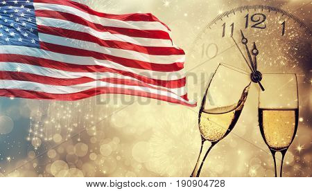 Celebrating Independence Day. United States of America USA flag with fireworks and champagne background for 4th of July
