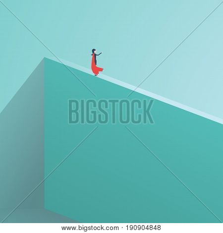 Business superhero businesswoman standing on high wall. Symbol of business courage, bravery, fearless, power. Symbol of woman emancipation, power, feminism. Eps10 vector illustration.