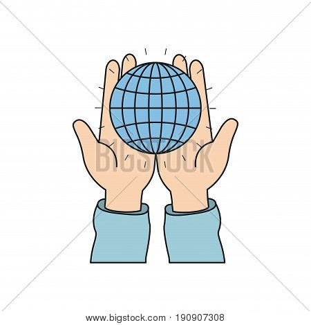 colorful silhouette front view of hands holding in palms a globe chart with lines vector illustration