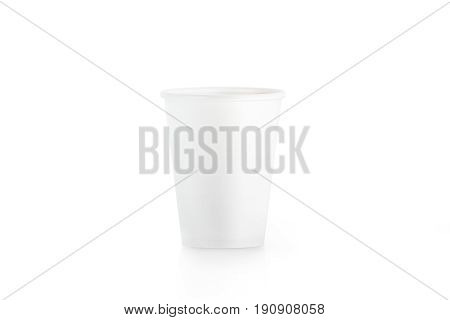 Blank white disposable paper cup mock up isplated 3d rendering. Empty polystyrene coffee drinking mug mockup front view. Clear plain tea take away plastic package cofe shop branding template.