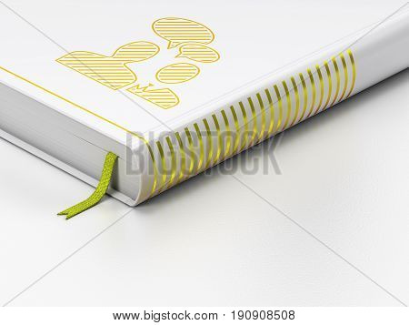 Business concept: closed book with Gold Business Meeting icon on floor, white background, 3D rendering