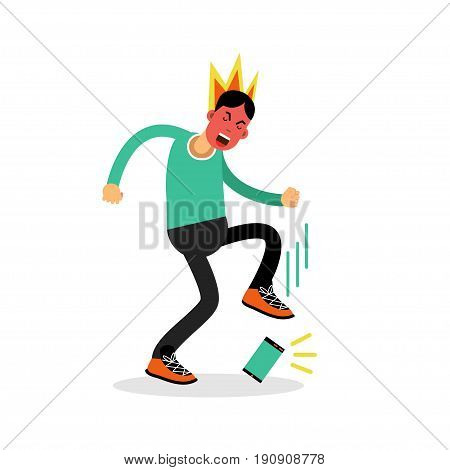 Man in a fury kicking his phone vector Illustration isolated on a white background