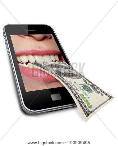 photography with element of the manipulates with scene of the cellular telephone eating dollars