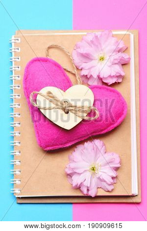 Notepad With Beige Eco Cover And With Pink Felt Heart