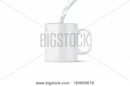 Pouring water in blank white tea mug mock up isolated 3d rendering. Clear coffee cup mockup