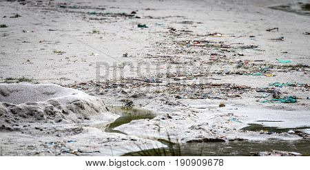 Trash and plastic waste on sandy beach Atlantic ocean. Environmental pollution in nature.