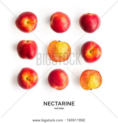 Seamless pattern with nectarine. Tropical abstract background. Nectarine on the white background.