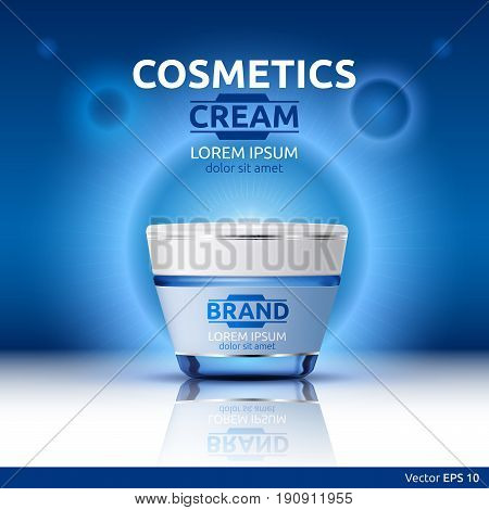 Moisturizing Cream cosmetic ads template. Hydrating face lotion. Mockup 3D Realistic illustration. Sparkling blue background color