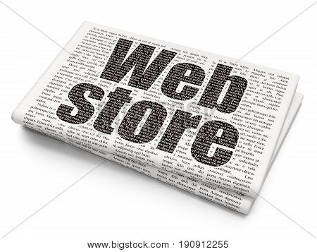 Web design concept: Pixelated black text Web Store on Newspaper background, 3D rendering